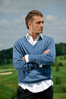 Mens Vneck Cashmere Sweater Day to Night Image