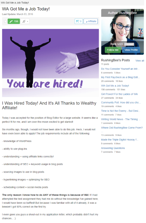 Got A Job As A Blog Editor Because of Wealthy Affiliate