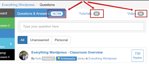 Wealthy Affiliate WordPress Classroom
