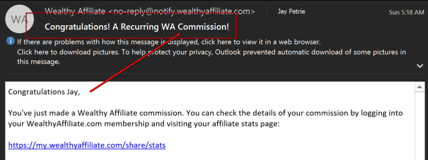Wealthy Affiliate Commission Email