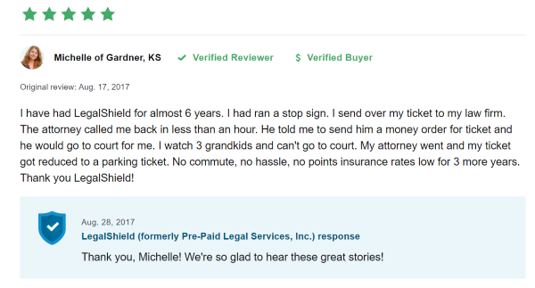 Legal Shield Review Happy Customer
