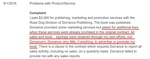 Author complaint regarding contract