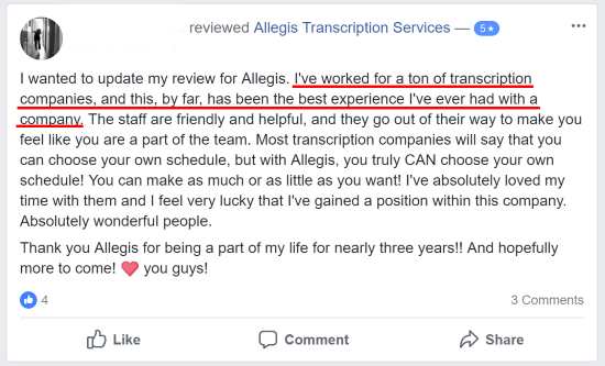 Allegis Transcription Facebook Reviews