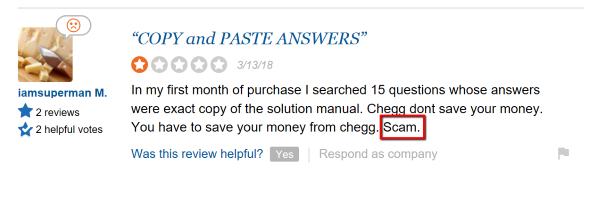 Chegg SiteJabber Scam Accusation
