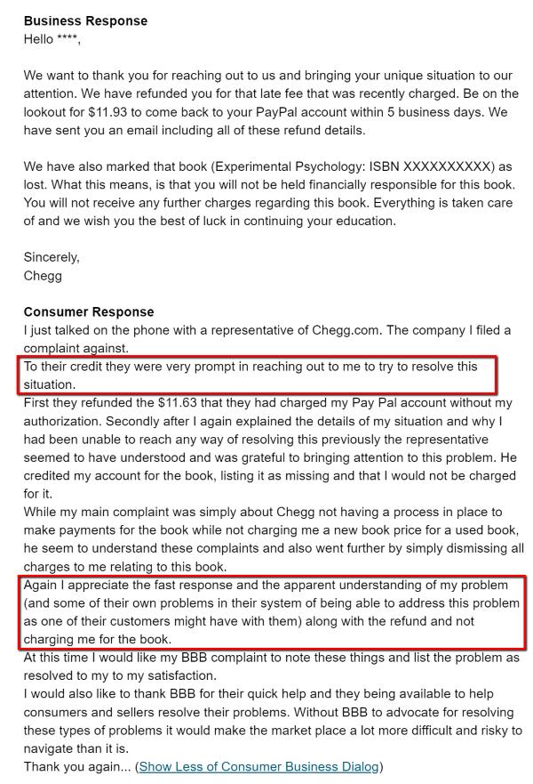 Consumer Dialogue Chegg Complaint