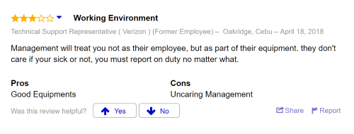 Employee review treated poorly