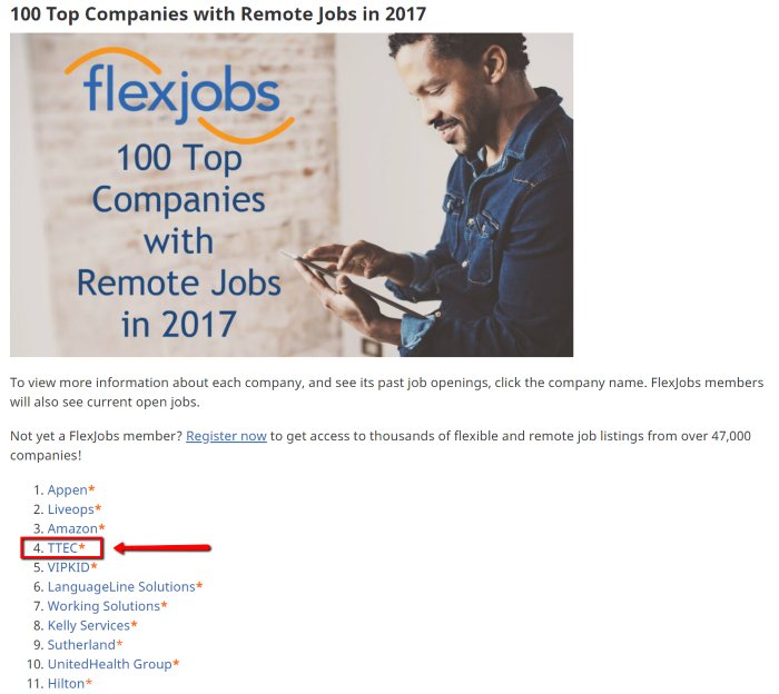 TeleTech number 4 on Flexjobs top 100