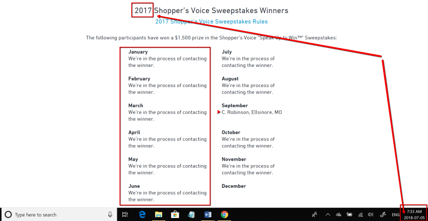 Shoppers Voice Sweepstakes Winners Not Yet Contacted
