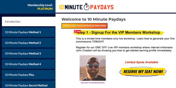 10 Minute Paydays Dashboard