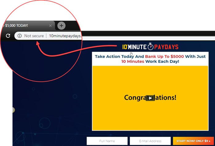 10 Minute Paydays Site Not Secure