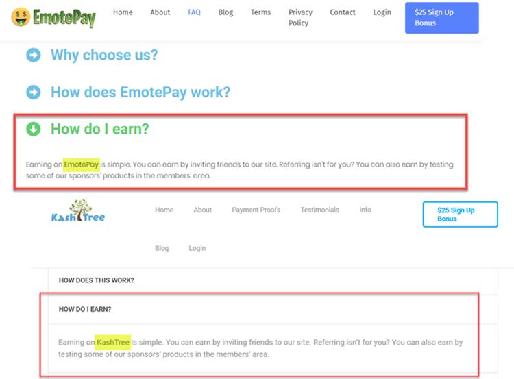 EmotePay and KashTree Same FAQ