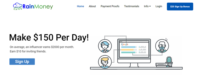 RainMoney Review - SCAM or Legit Way To Make $150 Per Day?
