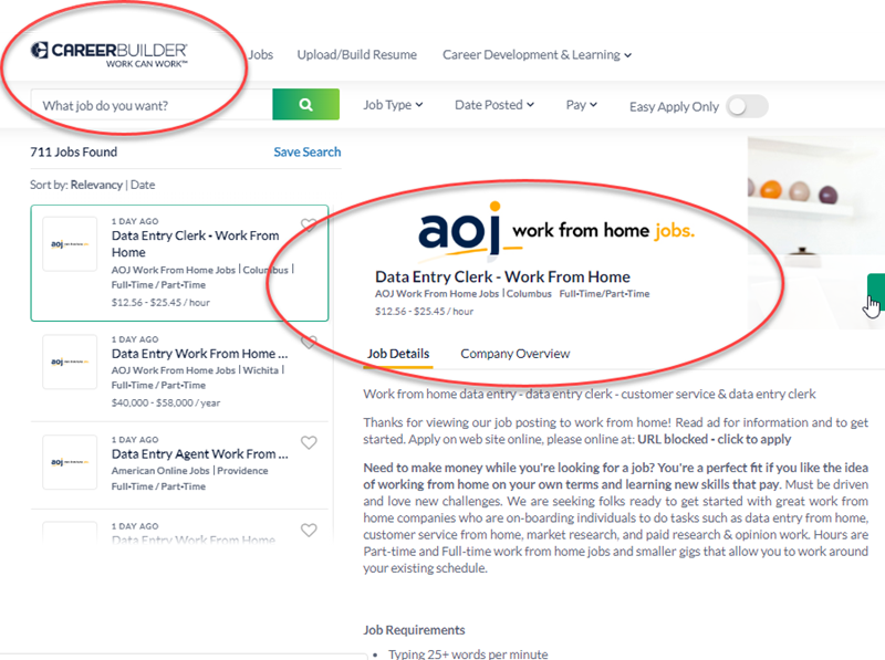 AOJ Online Jobs Review CareerBuilder Ad - is AOJ work from home legit?