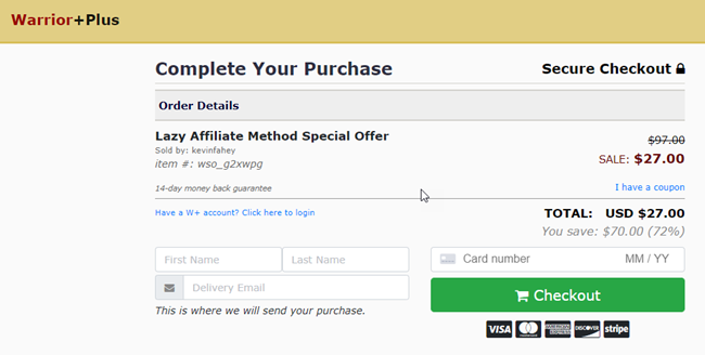 Lazy Affiliate Method Review Purchase Page