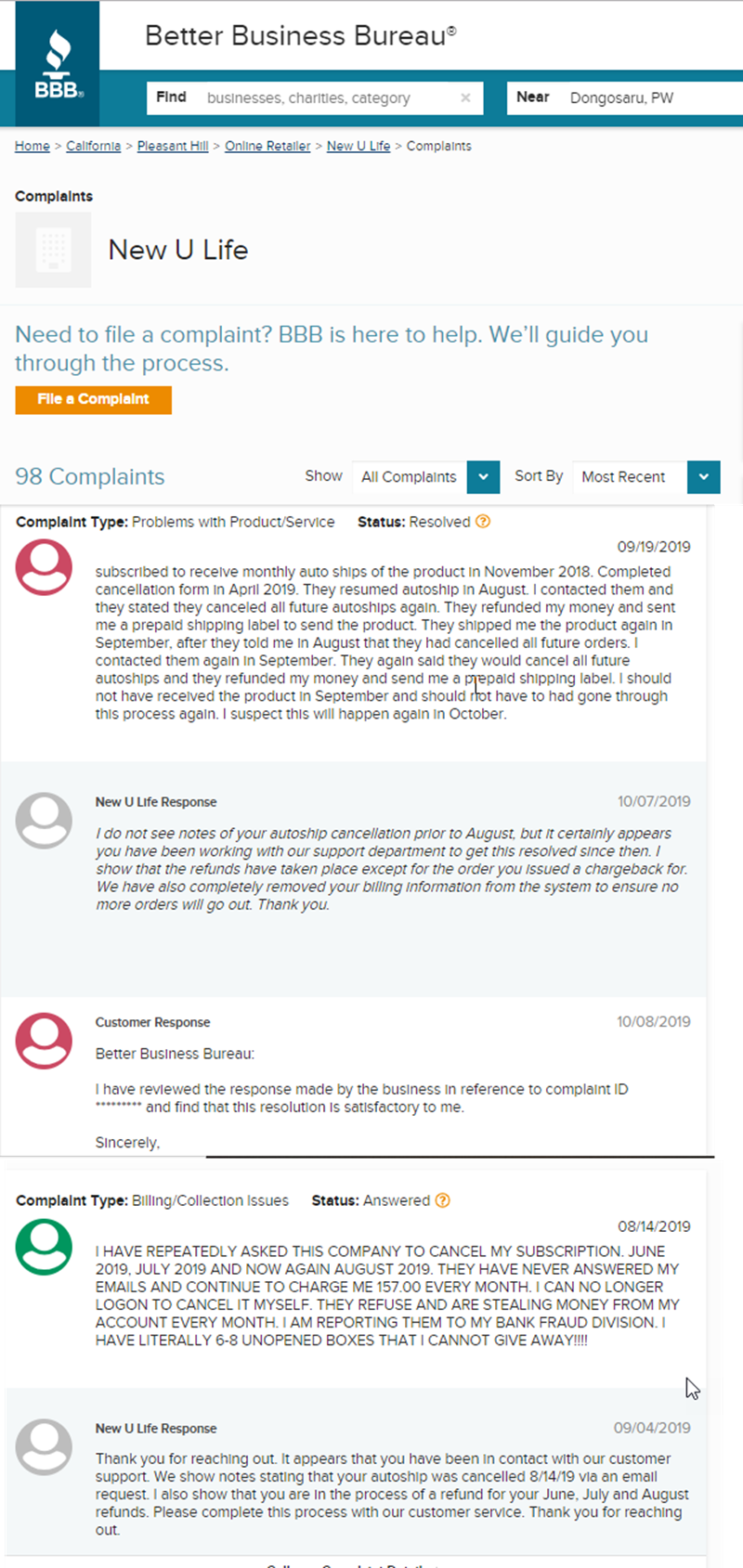 New U Life Review BBB Complaints 1
