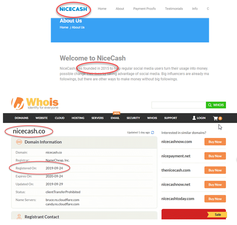 NiceCash Review Fake Founding Date