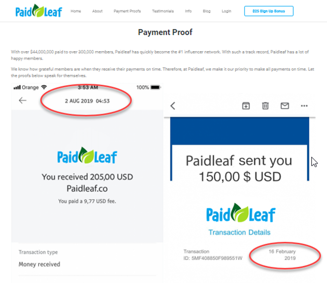 PaidLeaf Review Payment Proof