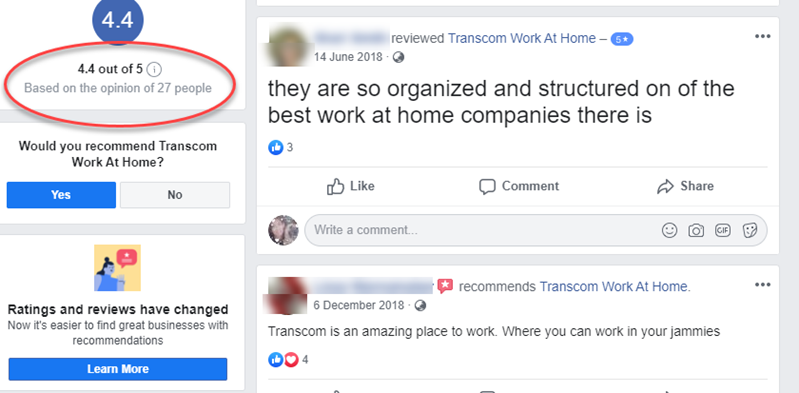 Transcom Work at Home Review Facebook Positive Reviews