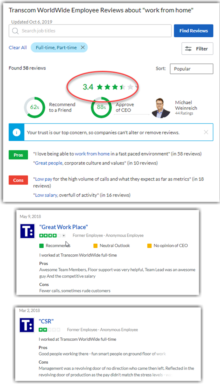 Transcom Work at Home Review Glassdoor Reviews