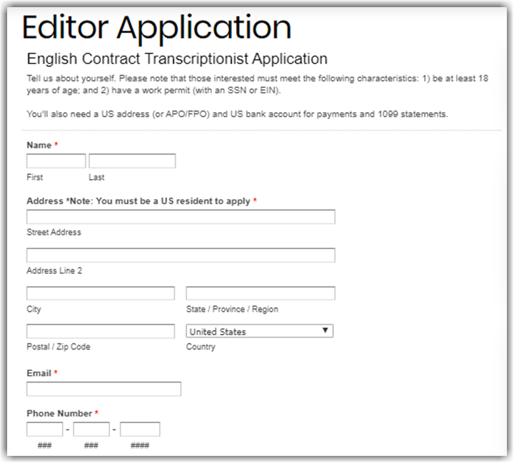 3Play Media Transcription Review Application Form