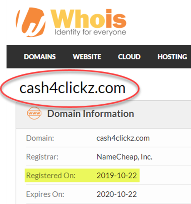 Cash4Clickz WhoIs Date Registered