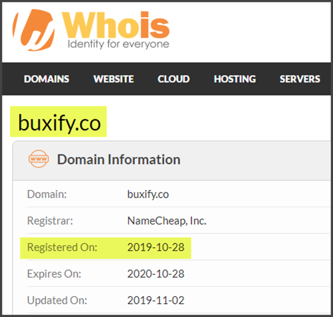 Buxify Review WhoIs Registration Date