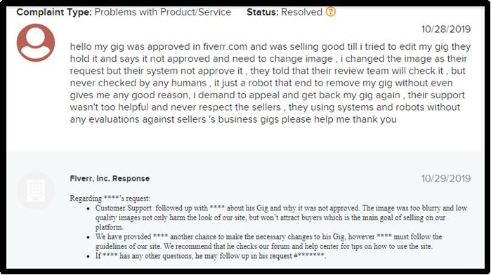 Fiverr BBB Complaint