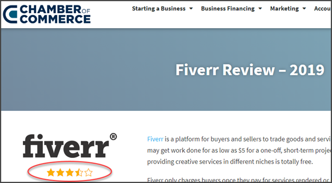 Fiverr Chamber of Commerce Review