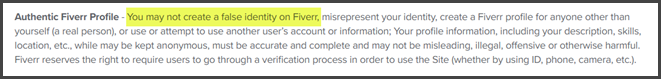 Fiverr False Identity Terms