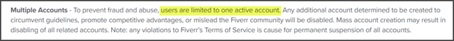 Fiverr Multiple Accounts Terms