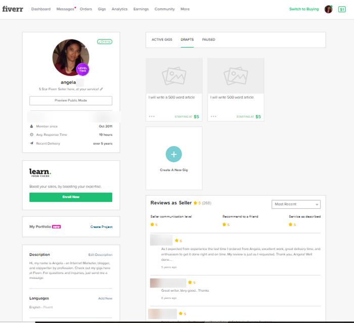 Fiverr Profile Page