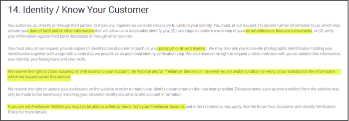 Freelancer.com Review Identity Verification