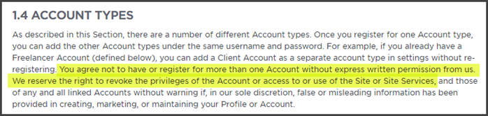 Upwork Review Account Types