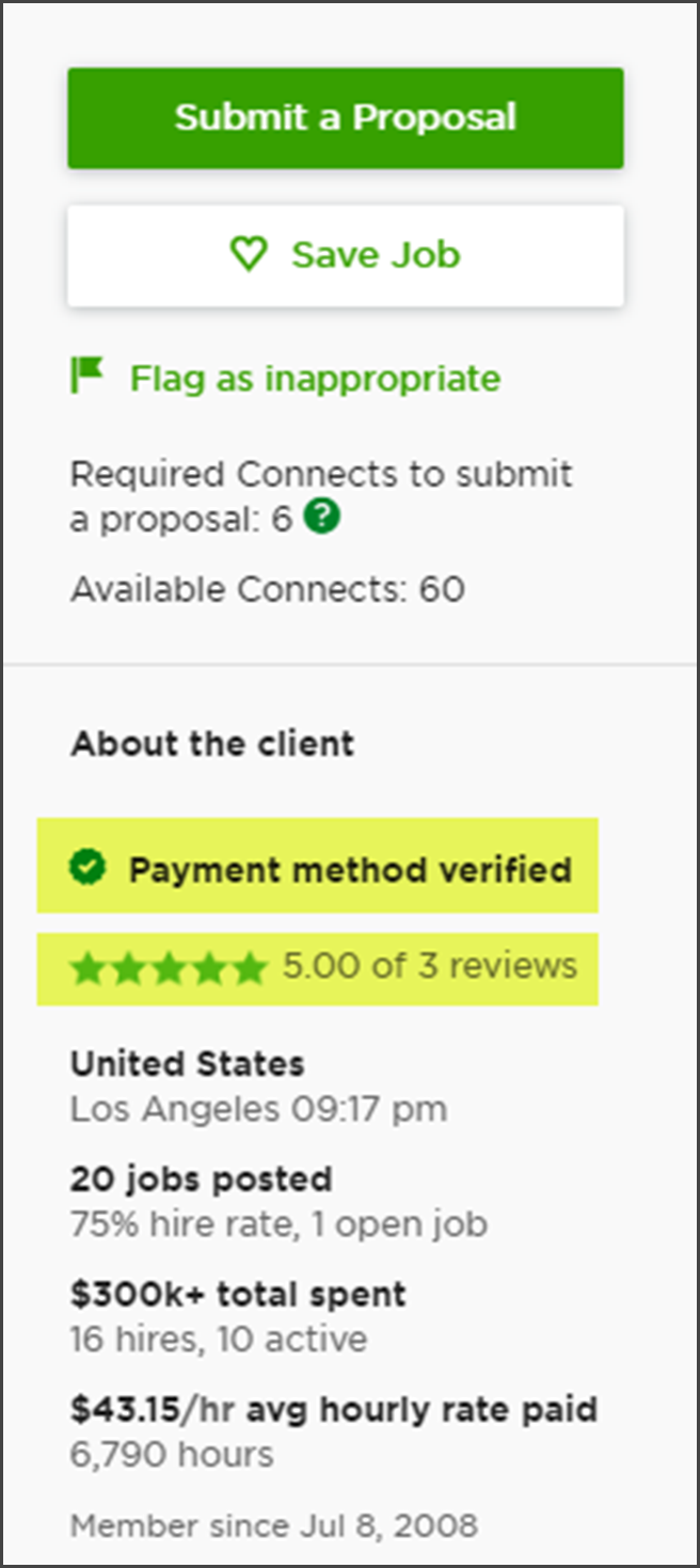 Upwork Review Client Proposal