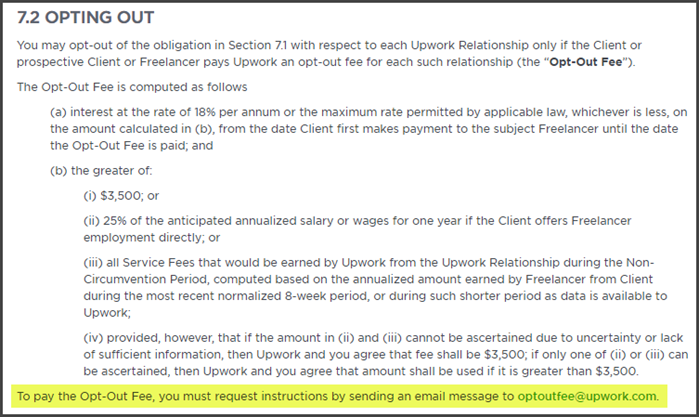 Upwork Review Opt Out Fee