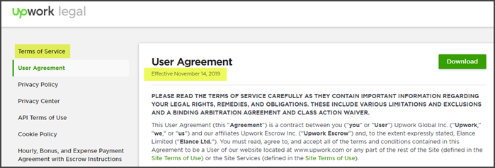 Upwork Review Terms of Service