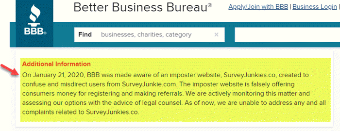 Better Business Bureau alert about Survey Junkies