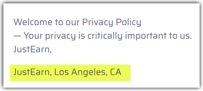JustEarn Review Fake Address Privacy Policy