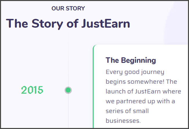 JustEarn Review Fake Founding Date