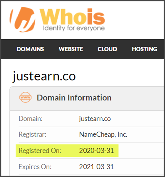 JustEarn Review Registration Date