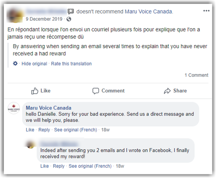 Maru Voice Canada Review Facebook Complaints