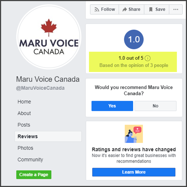 Maru Voice Canada Review Facebook Rating