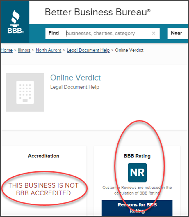 Online Verdict Review BBB Rating