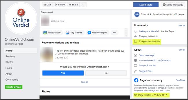 Online Verdict Review Facebook