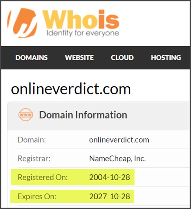 Online Verdict Review Registration Date