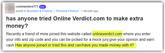 Online Verdict Review Yahoo Answers