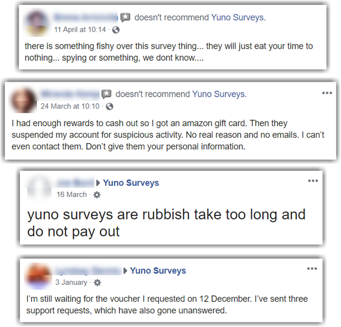 Yuno Surveys Review Facebook Negative Reviews