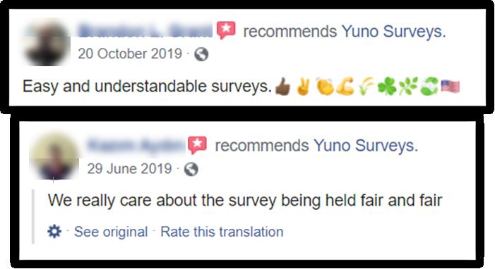 Yuno Surveys Review Facebook Positive Reviews