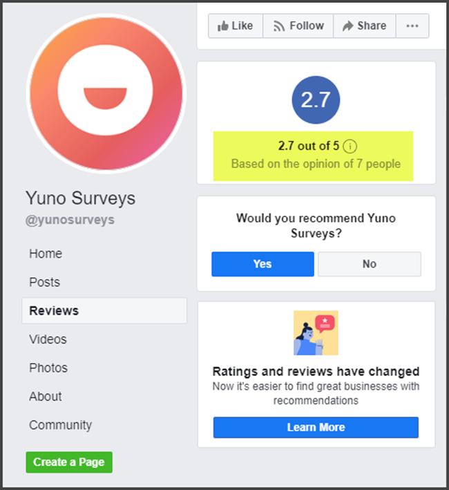Yuno Surveys Review Facebook Rating