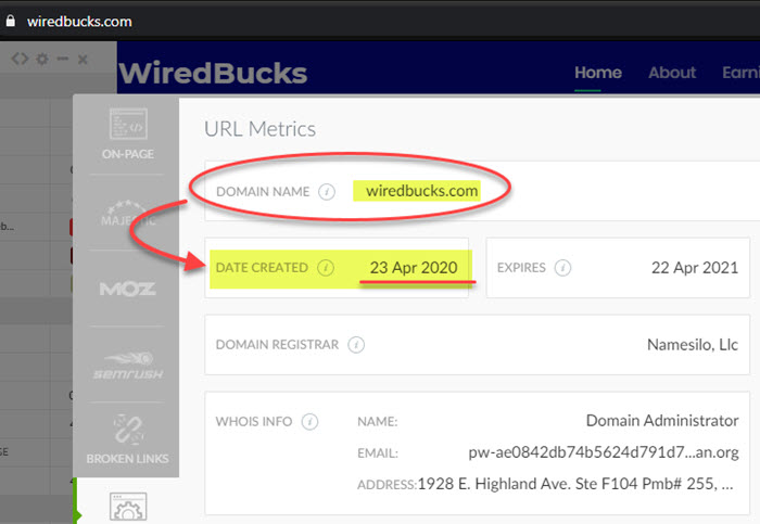 Wired Bucks Domain Registration and Whois Info
